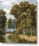 A Hunter And An Angler In A Wooded Landscape Metal Print