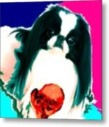 A Japanese Chin And His Toy Metal Print