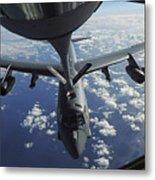 A Kc-135 Stratotanker Aircraft Refuels Metal Print