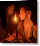 A Lady Admiring An Earring By Candlelight Metal Print
