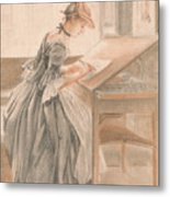A Lady Copying At A Drawing Table Metal Print