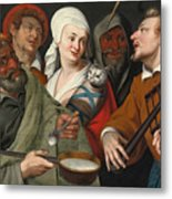 A Lady Holding A Swaddled Cat A Man With A Pan Of Porridge Another Playing With Fire Irons And Two O Metal Print