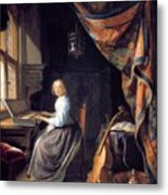 A Lady Playing The Clavichord Metal Print