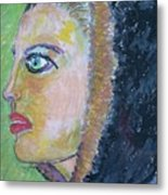 A Lady's Profile In The Navy Hood Metal Print