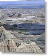 A Landscape Of The Badlands In South Metal Print