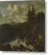 A Landscape With A Waterfall And A Castle On A Hill Metal Print