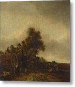 A Landscape With Peasants And A Cart Metal Print