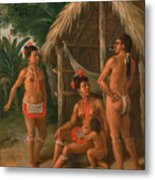 A Leeward Islands Carib Family Outside A Hut Metal Print
