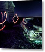 A Light Painted Scene Of A Rusty Caddy By A Barn And Cornfield Metal Print