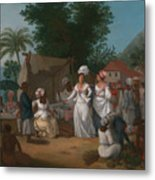 A Linen Market With A Linen-stall And Vegetable Seller In The West Indies Metal Print