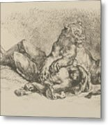 A Lioness Mauling The Chest Of An Arab Metal Print