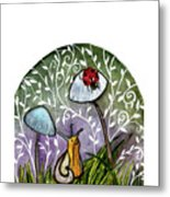 A Little Chat-ladybug And Snail Metal Print