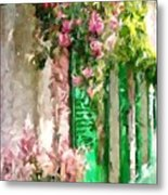 A Little Cozy Street With Roses Metal Print