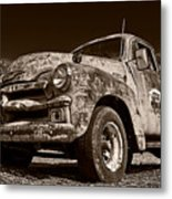 A Little Wear - Sepia Metal Print