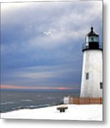 A Lonely Seagull Was Flying Over The Pemaquid Point Lighthouse Metal Print