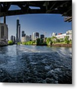 A Look At The Chicago Skyline From Under The Roosevelt Road Bridge  Metal Print