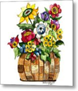 A Lovely Basket Of Flowers Metal Print
