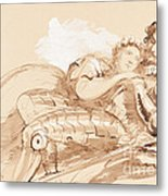 A Maiden Embraced By A Knight In Armor Metal Print
