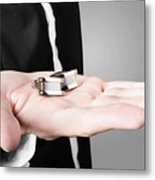 A Male Model Showcasing Cuff Links In His Hand Metal Print