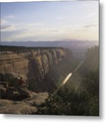 A Man Admires The Sunset From A Canyon Metal Print