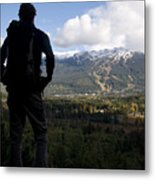 A Man Admires The View Over The Valley Metal Print