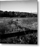 A Man And His Dog - Square Metal Print