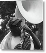 A Man Blows His Horn Metal Print