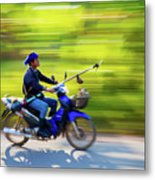 Heading To Work In Rural Thailand. Metal Print
