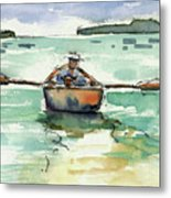 A Boat, A Man And His Dog Metal Print