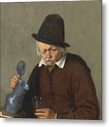 A Man Holding A Tankard And A Glass Metal Print