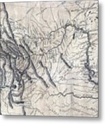 A Map Of Lewis And Clarks Track Metal Print