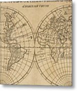 A Map Of The World With The Voyage Of Robinson Crusoe Metal Print
