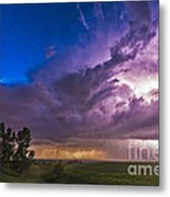 A Massive Thunderstorm Lit Internally Metal Print