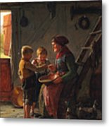 A Meal. Two Boys And A Grandmother Tasting The Potato Soup Metal Print