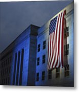 A Memorial Flag Is Illuminated On The Metal Print