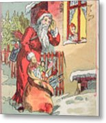 A Merry Christmas Vintage Greetings From Santa Claus And His Gifts Metal Print