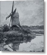 A Mill On The Banks Of The River Stour Charcoal On Paper Metal Print