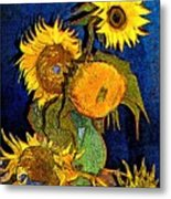 A Modern Look At Vincent's Vase With 5 Sunflowers Metal Print