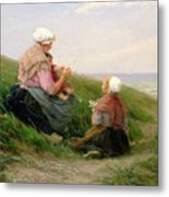 A Mother And Her Small Children Metal Print