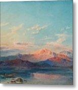 A Mountain Lake At Sunset Metal Print
