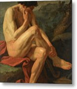 A Naked Man Sitting In A Landscape Metal Print