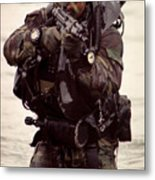 A Navy Seal Exits The Water Armed Metal Print