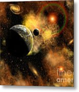 A Nebulous Star System In A Distant Metal Print