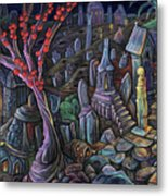A Night In A Bunny Cemetery Metal Print