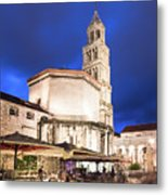 A Night View Of The Cathedral Of Saint Domnius In Split Metal Print