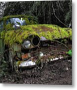 A Non Rolling Car Gathers Some Moss Metal Print