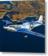 A North American P-51d Mustang Flying Metal Print