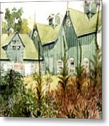 Watercolor Of An Old Wooden Barn Painted Green With Silo In The Sun Metal Print