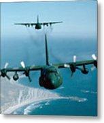 A Pair Of C-130 Hercules In Flight Metal Print