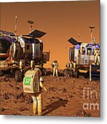 A Pair Of Manned Mars Rovers Rendezvous Metal Print